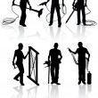 Royalty-Free Stock Vector Image: Construction workers silhouettes