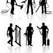 Stock Vector: Construction workers silhouettes