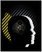 Gear symbol in the head — Stock Vector