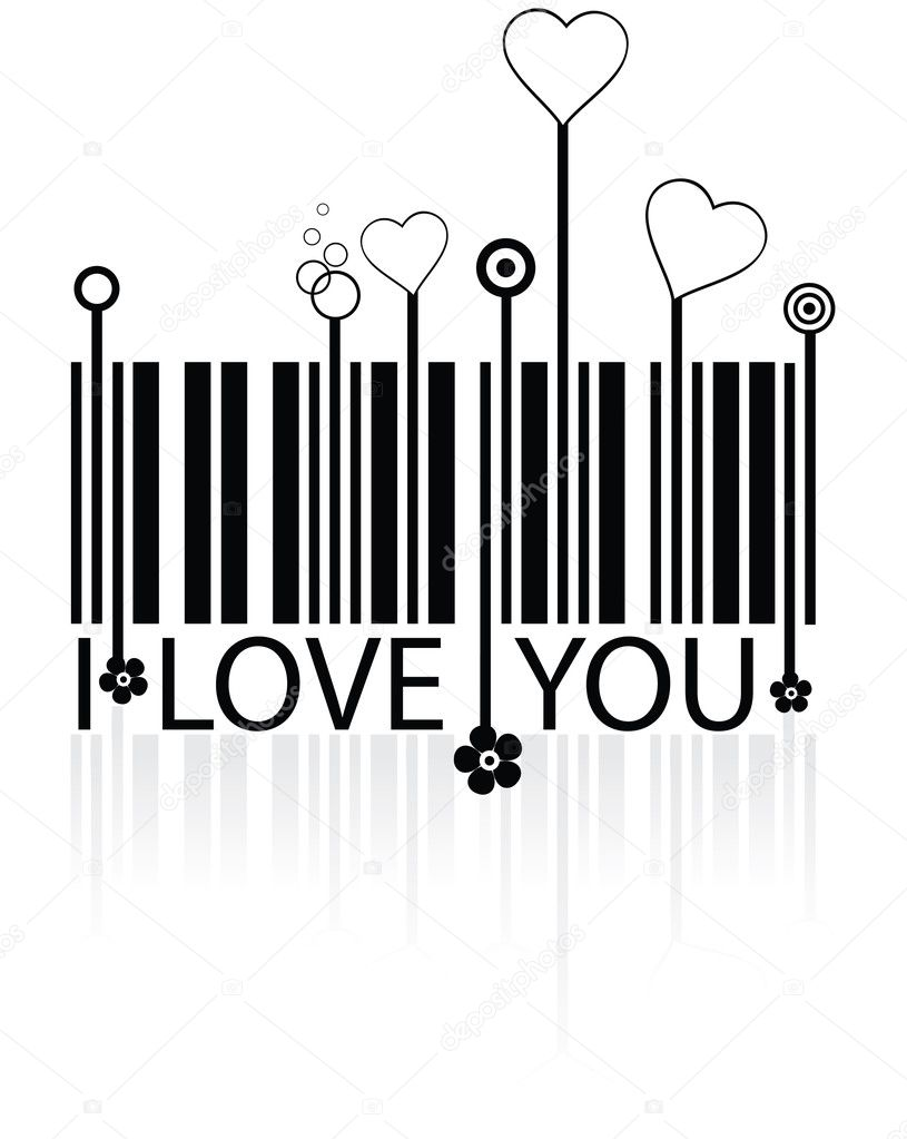 Barcode with love symbols - conceptual vector — Stock Vector #1079648