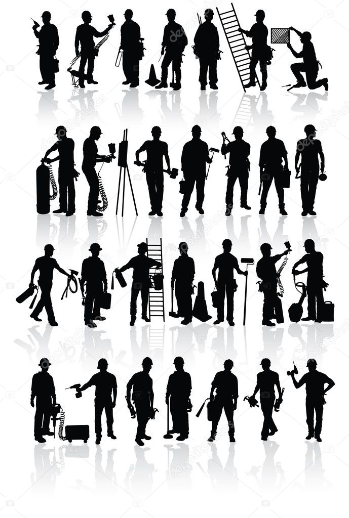 Isolated construction workers silhouettes with different tools — Imagen vectorial #1079855
