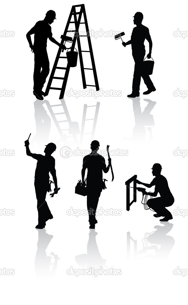 Isolated construction workers silhouettes with different tools — Vektorgrafik #1079865