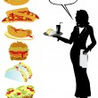 Royalty-Free Stock Vector Image: Food and waiter