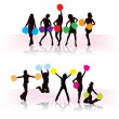 Cheerleader girls - Stock Vector