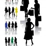 Shopping womans — Stock Vector