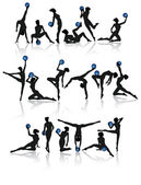 Gymnastic girl collection — Stock Vector