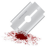 Bloody razor blade — Stock Vector