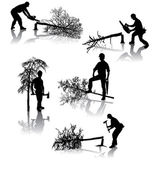 Forestry workers — Stock Vector