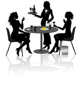 Two beautiful girlfriends sit and talk in Restaurant — Vetor de Stock