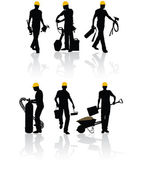 Trabajadores con las herramientas — Vector de stock