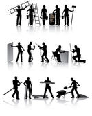Workers with tools — Stock Vector