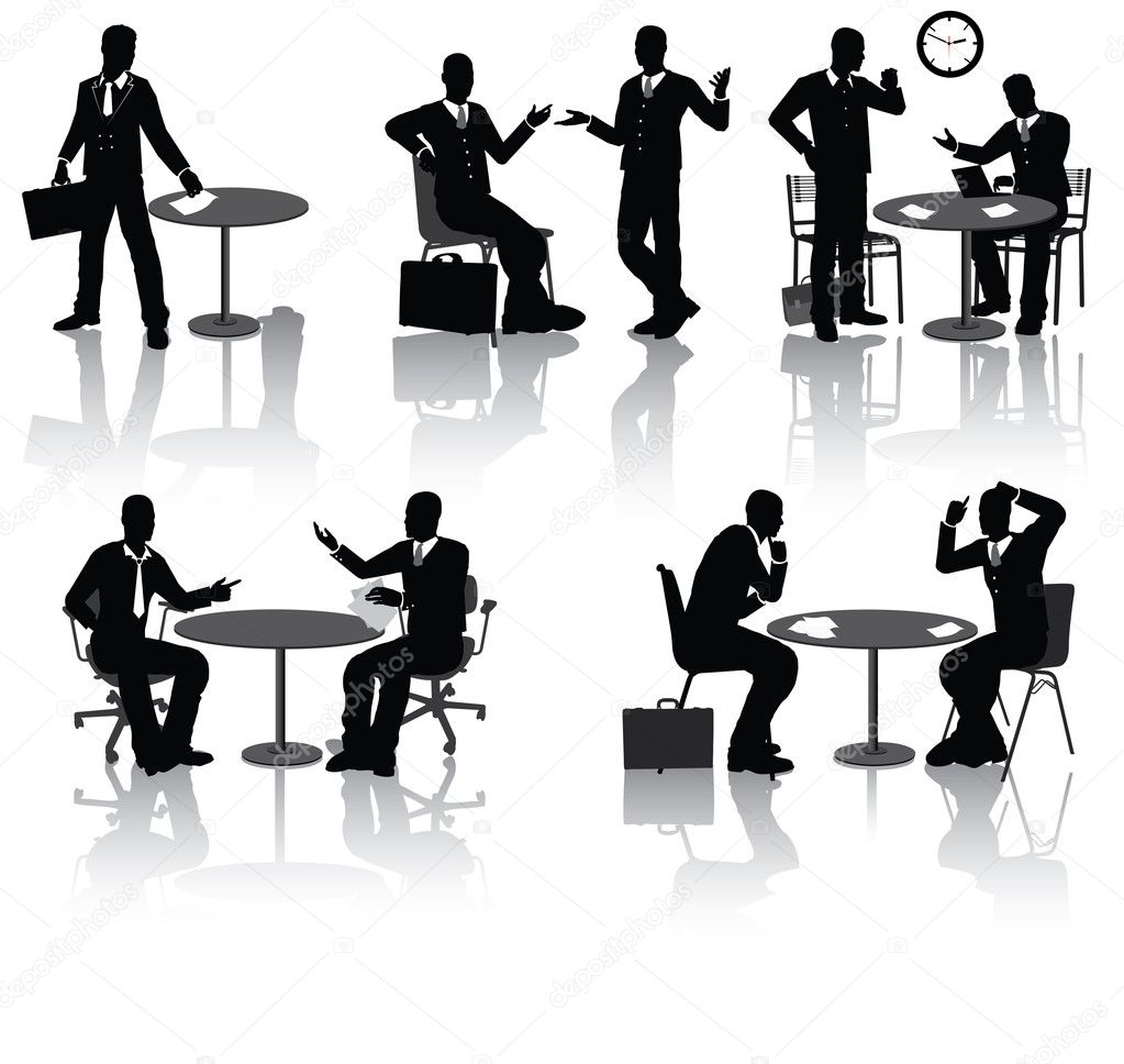 High quality business silhouettes in different situations  Imagen vectorial #1080865