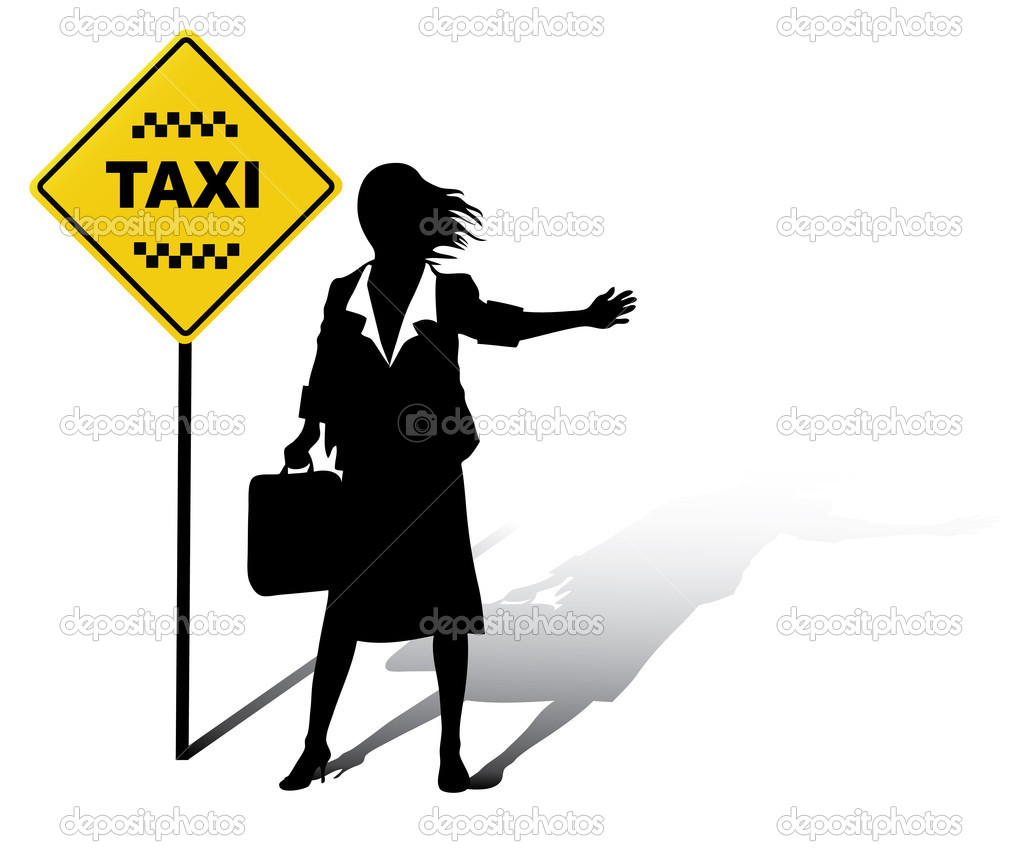 Business woman catches a Taxi in the street — Stock Vector #1088853