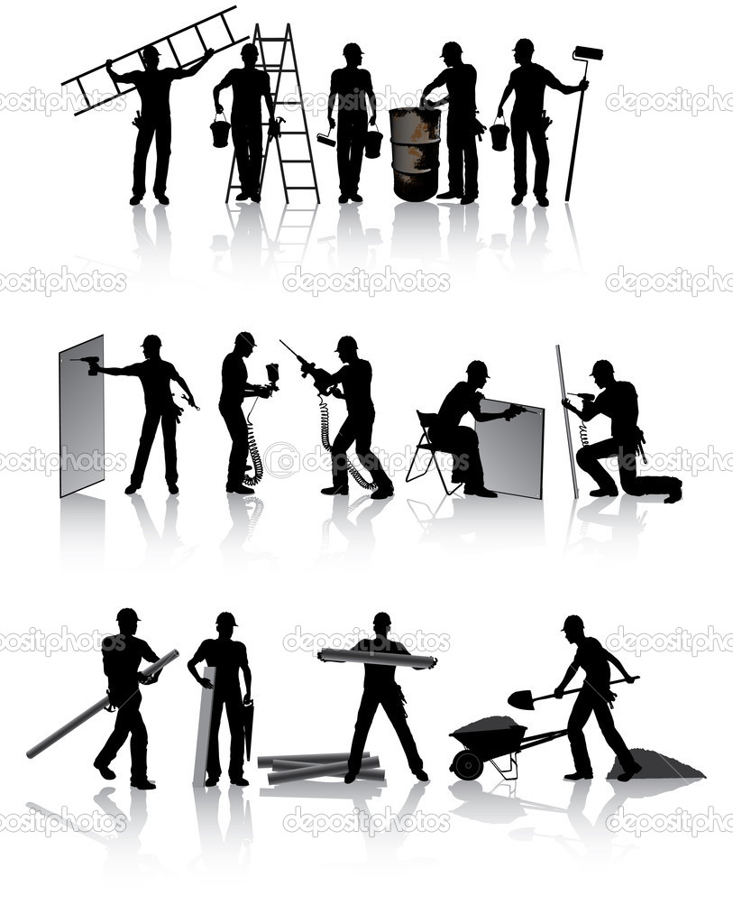 Isolated workers silhouettes with different tools — Stock Vector #1088868