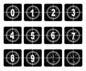 Film countdown Numbers 0-10 — Stock Vector