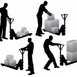 Workers loading boxes - Stock Vector
