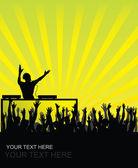 Dj cheering audience — Stock Vector