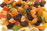 Various candied fruits and nuts — Stock Photo