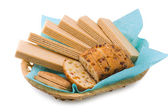 Wafers, a fruitcake and cookies — Stock Photo