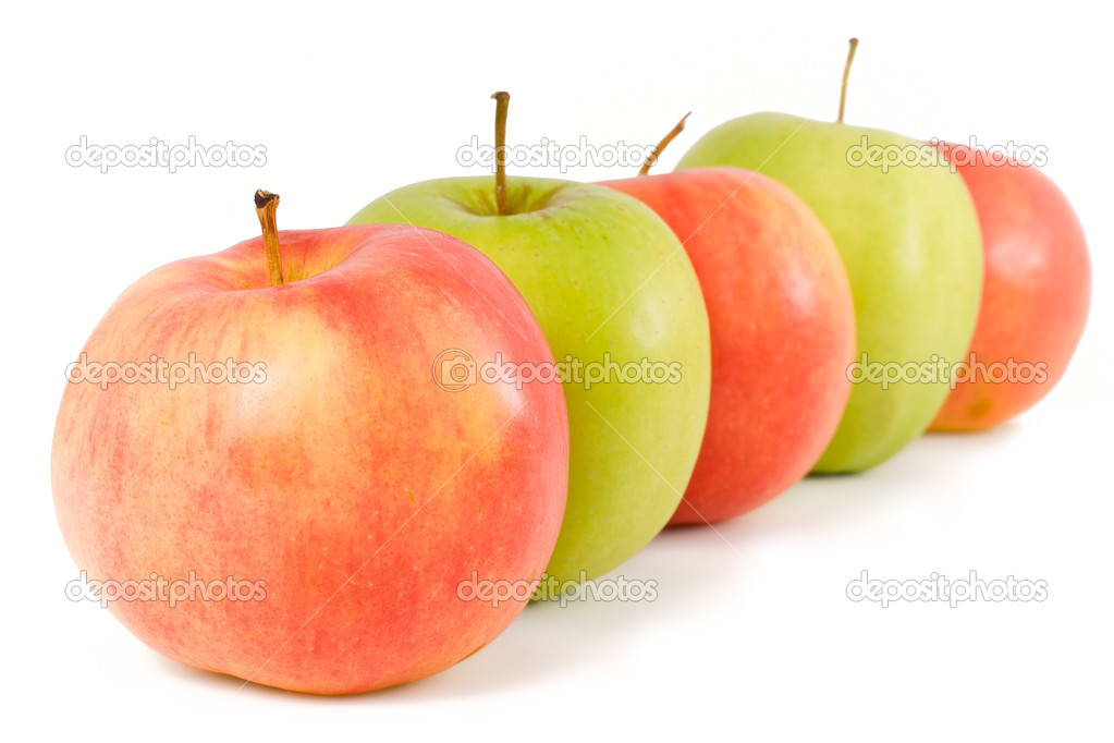 Five apples - green and red - on a white background — Stock Photo #2422106