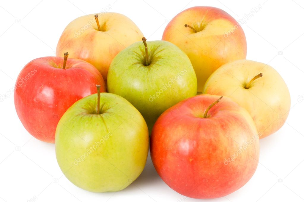 Some apples (green, red, yellow) on a white background — Stock Photo #2547265