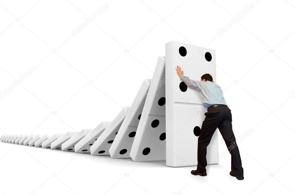 Domino effect, man withstands moving down. — Stock Photo #1074153
