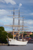 Sailing ship in harbor, Stockholm — Stock Photo