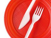 Assiette jetable rouge — Photo