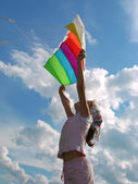 Start flying kite — Stock Photo