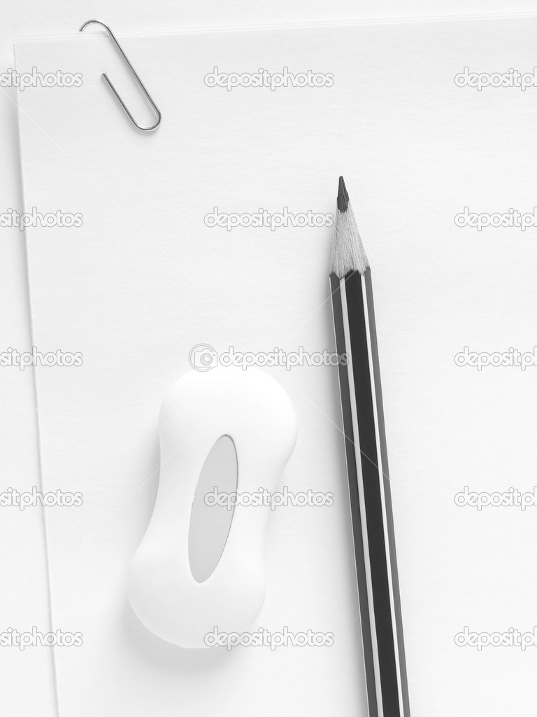 Pencil and eraser on the sheets of paper with clip                                — Stock Photo #1092892
