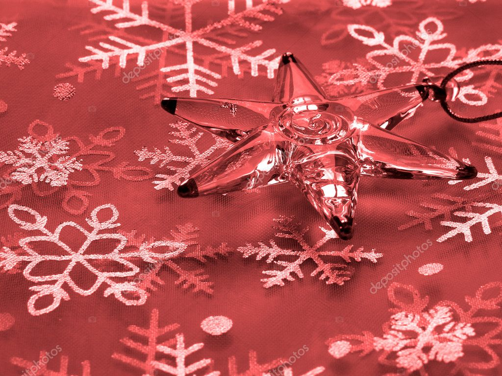 Red Christmas background with star and snowflakes                                — Stock Photo #1093083