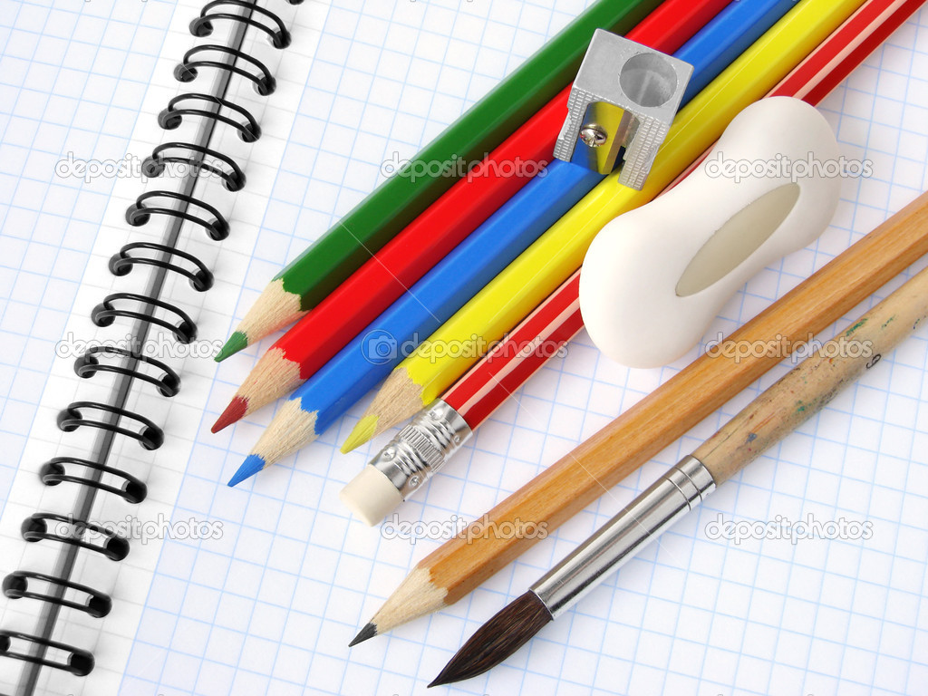Educational tools set on the spiral notepad background                                — Stock Photo #1093101