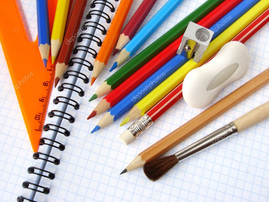 Educational tools set on the spiral notepad background                                — Foto Stock #1095035