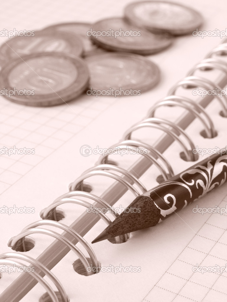 Sepia toned spiral notebook with pencil and coins                                — Stock Photo #1097346