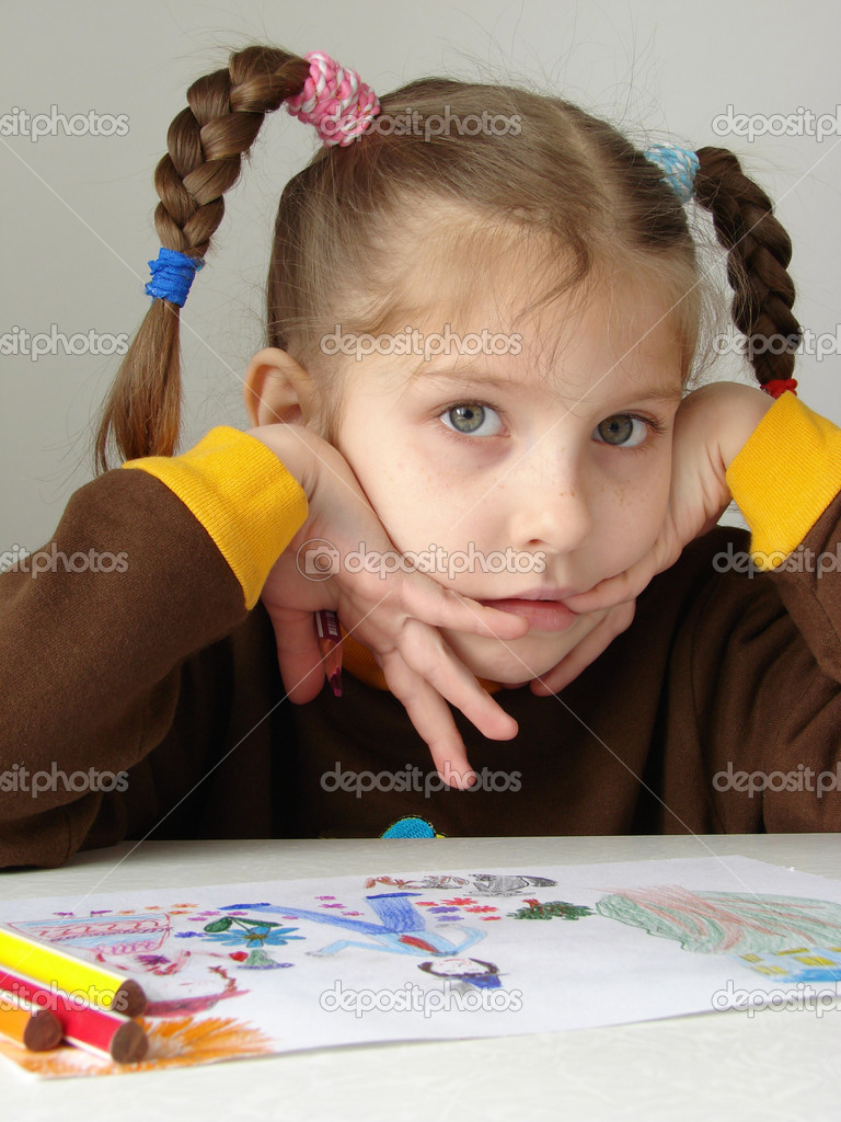 Little painter thinking                                — Stock Photo #1098921