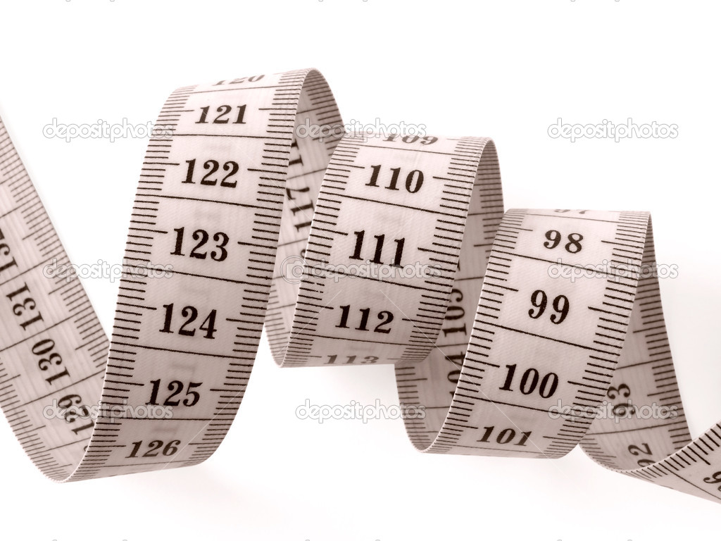 Sepia toned curved measuring tape fragment on white                                — Stock Photo #1100023