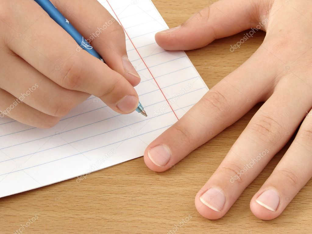 Child hands with pen ready to write                                — Zdjęcie stockowe #1100125
