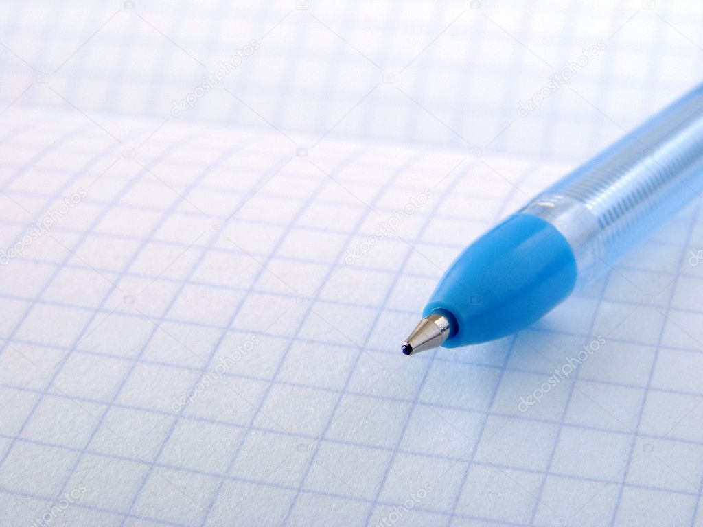 Blue pen on exercise book page — Stock Photo #1101155