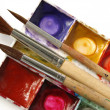 Paints with brushes — Stock Photo