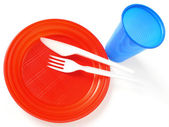 Plastic tableware — Stock Photo