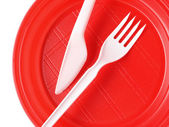 Red disposable plate — Photo