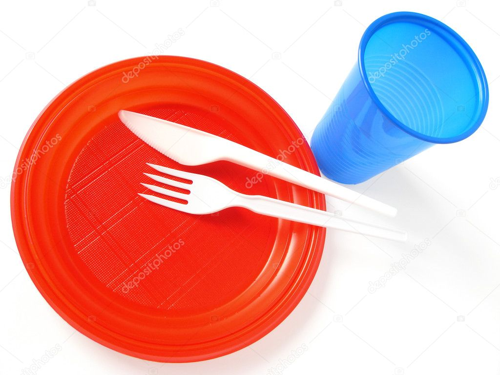 Colorful plastic tableware set for picnic                                — Stock Photo #1110735