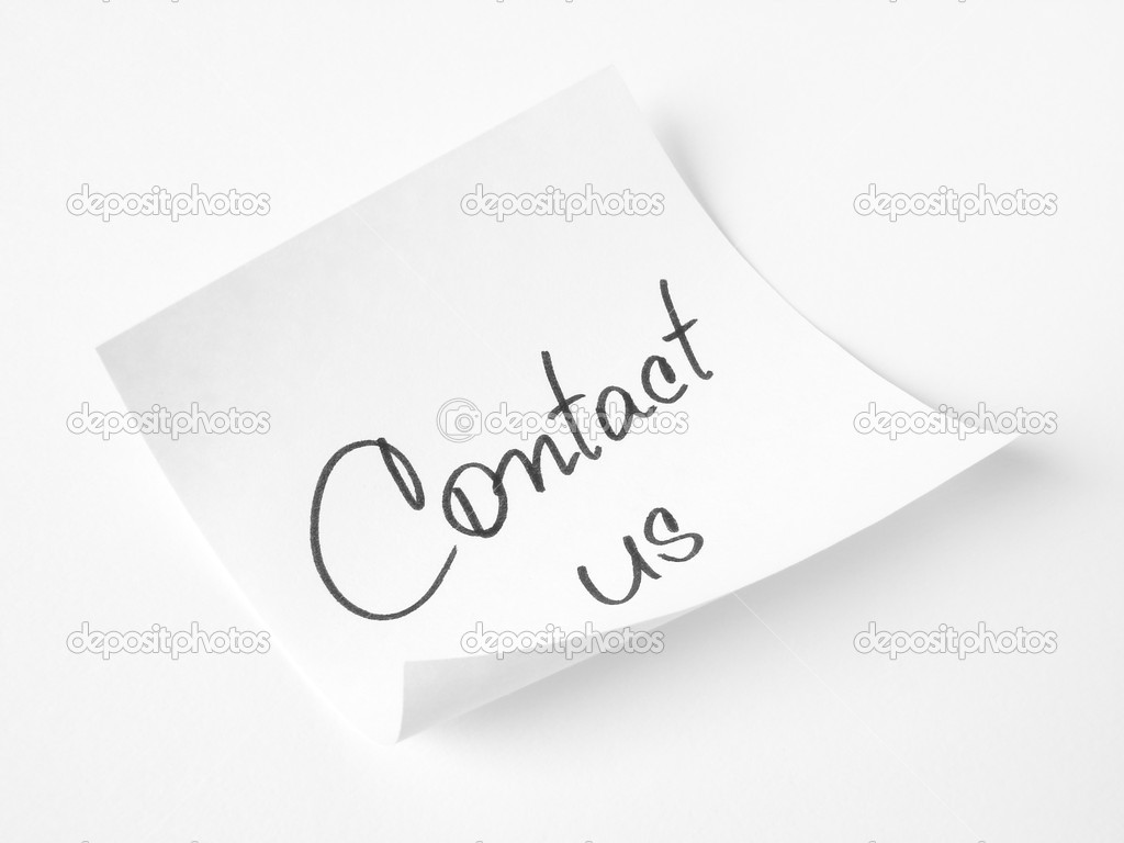 Contact us handwritten message on sticker                                — Stock Photo #1333944
