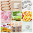 Collage of pills - Stok fotoğraf