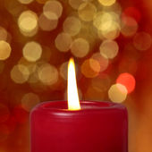 Red burning candle — Stock Photo