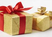 Scatole regalo d'oro — Foto Stock