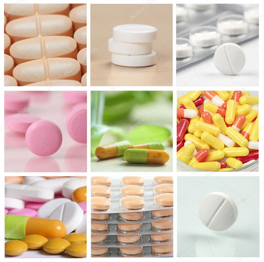 Collage of pills  Foto Stock #1117159