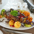 Grilled duck with fruits — Stock Photo