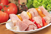 Raw marinated meat — Stock Photo