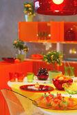 Orange kitchen — Stock Photo